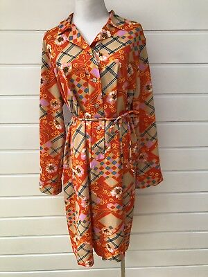OSTI FASHIONS Vintage Plus Size Orange Floral Patterned Shirt Dress - Size 16-18