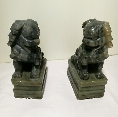 A pair of Chinese hand carved soapstone Foo Dogs H15cm Heavy
