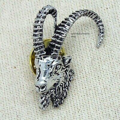 Ibex Mountain Goat Pin Badge (English Silver Pewter Brooch in gift pouch)