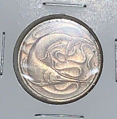 1972 Singapore One 20 Cents Carded Coin, Swordfish, Nice Luster