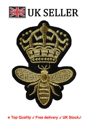 Queen Bee Iron/Sew On Embroidered Patch Badge Embroidery Crown Motif Royal