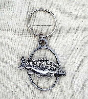 Mirror Carp Fish Oval Keyring (English Silver Pewter in a gift pouch)