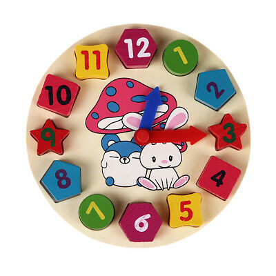Wooden Clock 12 Number Colorful Puzzle Toy Learning Educational Bricks Baby
