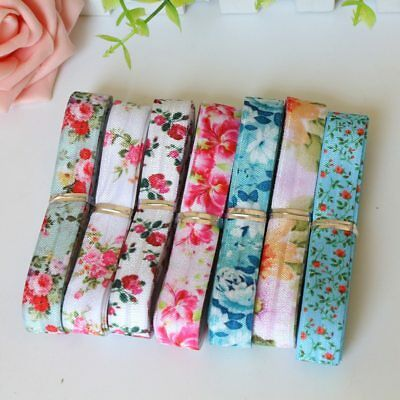 14yards each color transfer flowers printed  fold over elastic FOE ribbon set
