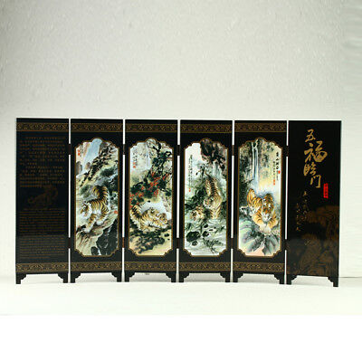 China Lacquerware Handwork Painting Five Tigers Screen R3025