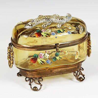 Antique Moser Bohemian amber art glass Casket hinged box enameled applied lizard