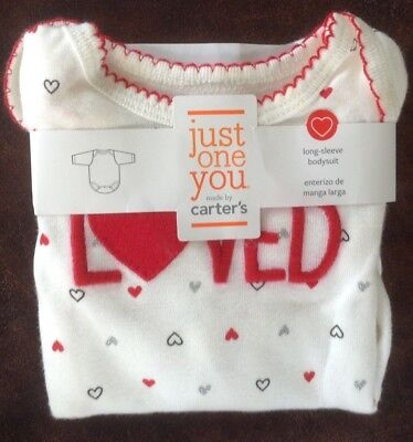 NEW CARTER'S JUST ONE YOU LONG SLEEVE BODYSUIT SIZE nb  loved valentine shirt