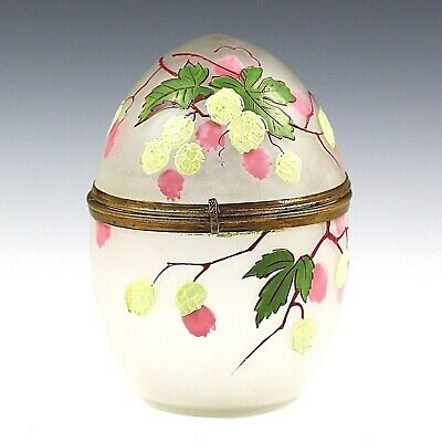 """5.5"""" Antique Victorian egg shaped BOX hand blown enamelled art glass hinged lid"""