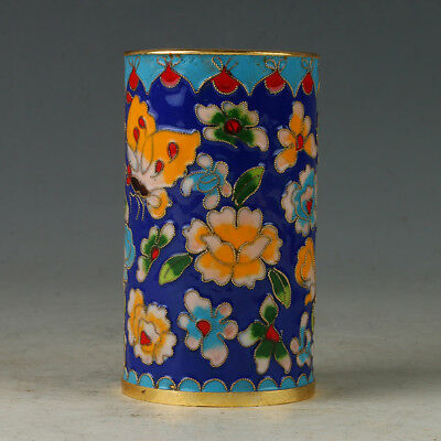 Chinese Exquisite Cloisonne Hand-made Flowers Brush Pots R0075