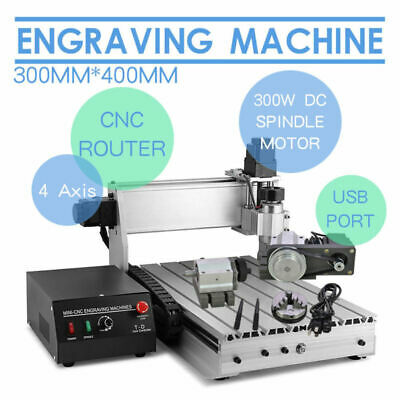4 Axis 3040 Engraving Machine CNC Engraver Router Cutter Parallel Port/USB