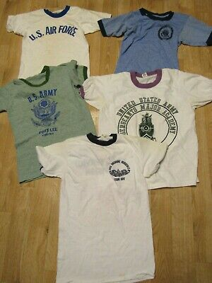 Vintage US Army Air force USAF shirt lot of 5 1970s ringer academy