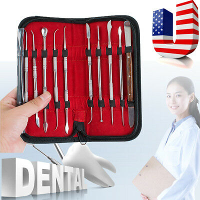 【US】Dental Lab Stainless Steel Kit Wax Carving Tool Set Instrument Tools Dentist
