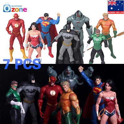 "7Pcs Justice League 7"" Action Figures Wonderwomen Flash Aquaman Superman Toy Set"