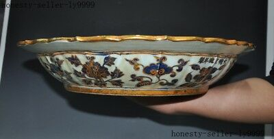 China Blue&white porcelain 24k gold Gilt carving Dragon Flowers plate dish tray