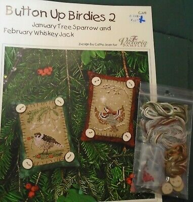 cross stitch Button Up Birdies chart w/embellishment pack