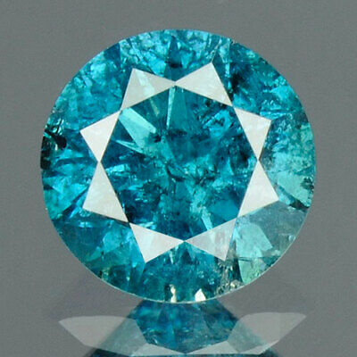 0.38 cts. CERTIFIED Round Cut Vivid Sea Blue Color Loose Natural Diamond 13325