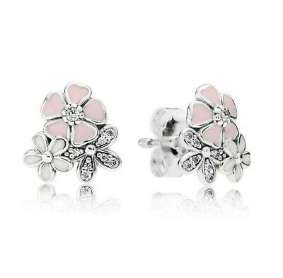 Pre-owned Authentic Pandora Silver 925 ALE Poetic Blooms Stud Earrings  290686#