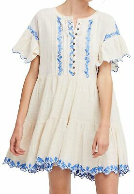 240b9b384ea4 Free People NEW White Ivory Womens Size Large L Floral Shift Dress  148- 067