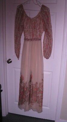 1960s, chiffon, maxi, peasant dress pink rose design