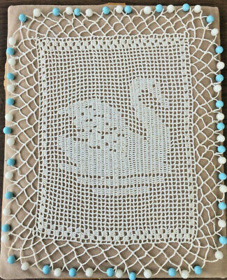 Vintage Crochet Milk Jug Cover with Swan - Blue and White Glass Beads