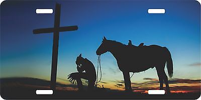 Christian Cowboy Praying Cross Horse Sunset Western License Plate Car Truck Tag