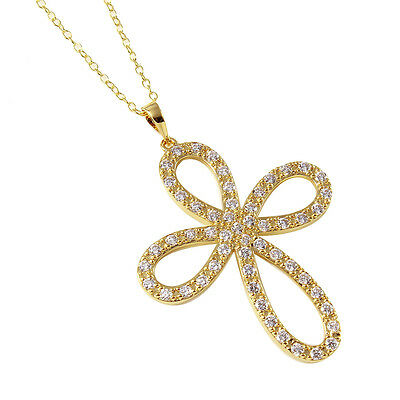 14K Yellow Gold Over 925 Sterling Silver Cross Necklace Pendant W/ Diamonds/18''