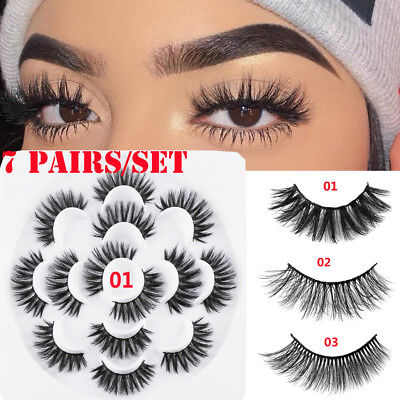 2019 SKONHED 7 Pairs 3D Faux Mink Hair False Eyelashes Thick Long Wispy Fluffy #