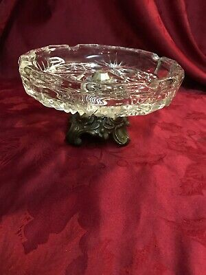 Hollywood Regency Lead Crystal Ashtray Bowl Ornate Metal Base Centerpiece