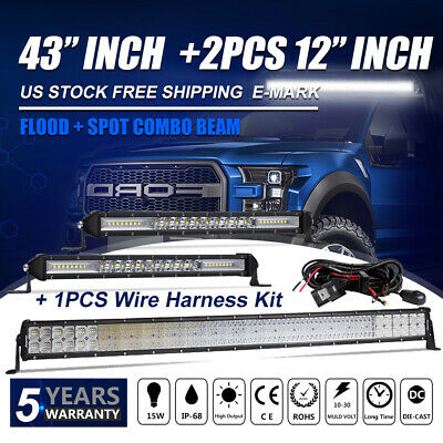 "43"" 44Inch LED Light Bar + 10"" 12inch Flood Spot Combo JEEP FORD SUV 4WD ATV UTE"