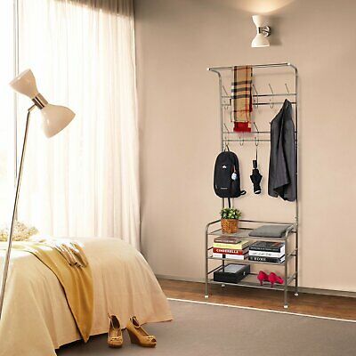 Champagne Metal Clothes Shelf Vertical Display Storage Stand Hanger Shoes Rack