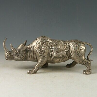 Chinese Silver  Copper Hand carved Rhinoceros Statue MY0707