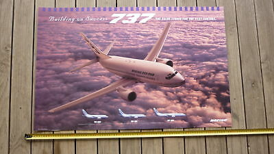 BOEING AVIATION AIRCRAFT Co OLD LARGE PROMOTIONAL POSTER, THE 737 AEROPLANE