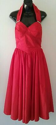 Red vintage ladies prom dress 1980s netting tulle sparles size 8 10 small