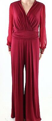 Designer Brand NEW Red Womens Size XL Surplice Studded Cuff Jumpsuit $48- 943