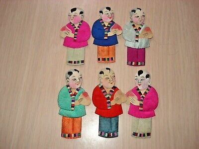6 Rare Antique Chinese Men Embellishments - Silk Clothing - Hand Painted
