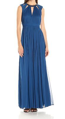 Adrianna Papell NEW Blue Womens Size 8 Cut-Out Chiffon Ball Gown $219 915