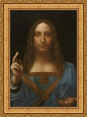 """Salvator Mundi""(21""x28"")Leonardo Da Vinci  Framed Canvas Giclee Print(MD-Gold)"
