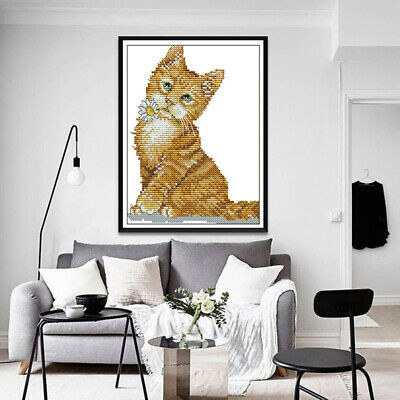 Stamped Cross Stitch Kit DIY Embroidery Package Kitten Pattern 11 / 14 Count