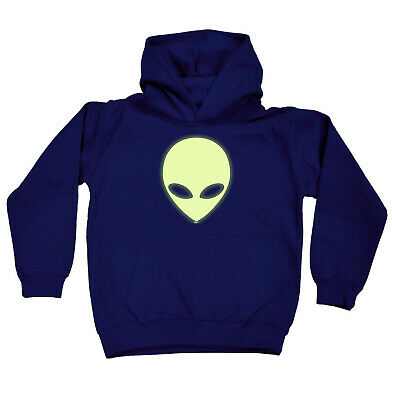 Funny Kids Childrens Hoodie Hoody - Alien Head Glow In The Dark