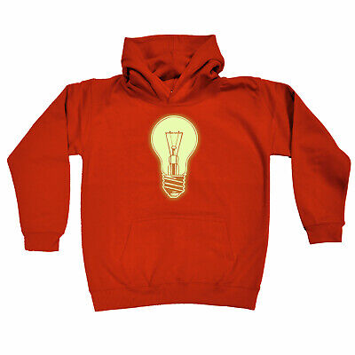Funny Kids Childrens Hoodie Hoody - Light Bulb Glow In The Dark