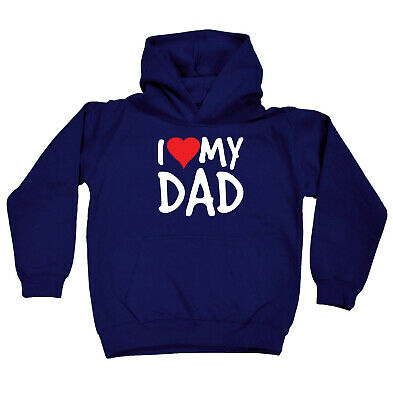 Funny Kids Childrens Hoodie Hoody - I Heart Love My Dad