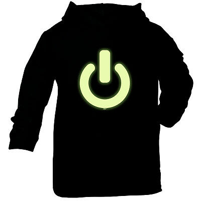 Funny Baby Infants Cotton Hoodie Hoody - Power Button Glow In The Dark