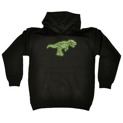 Funny Kids Childrens Hoodie Hoody - Trex Bones Dnosaur Glow In The Dark
