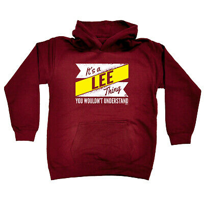 Funny Kids Childrens Hoodie Hoody - V2 Lee Thing  Surname