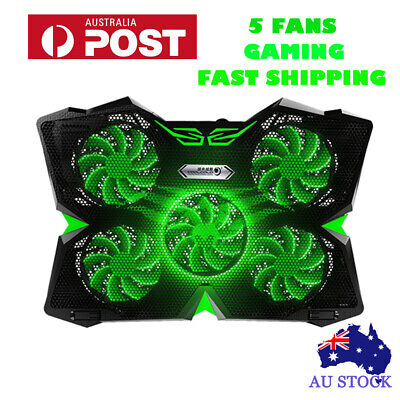 CoolCold LED Flash 12-17 inch Laptop Cooling Pad Stand Cooler 5 Fans Desktop Pad