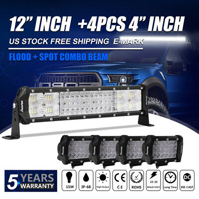 "4PCS 4Inch LED Light Bar + 12"" Flood Spot Combo 2640W Offroad SUV 4WD JEEP FORD"