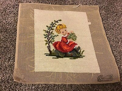 Completed Needlepoint Hummel Girl Red Dress 12.5x13