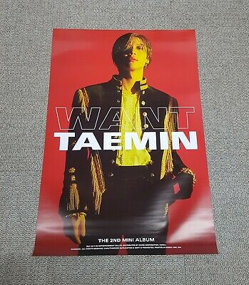 K-POP SHINEE TAEMIN 2nd Mini Album [WANT] RED Ver. OFFICIAL POSTER -NEW-