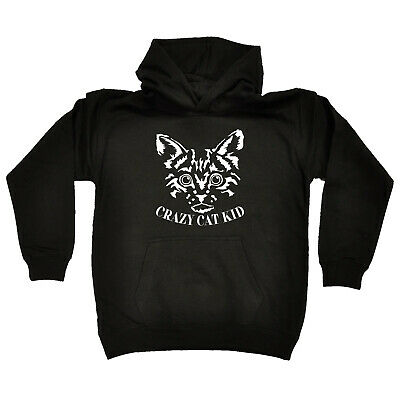 Funny Kids Childrens Hoodie Hoody - Crazy Cat Kid