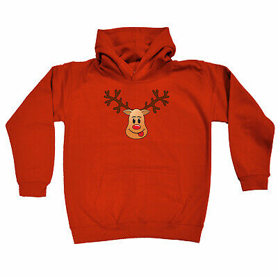 Funny Kids Childrens Hoodie Hoody - Christmas Rudolph Face